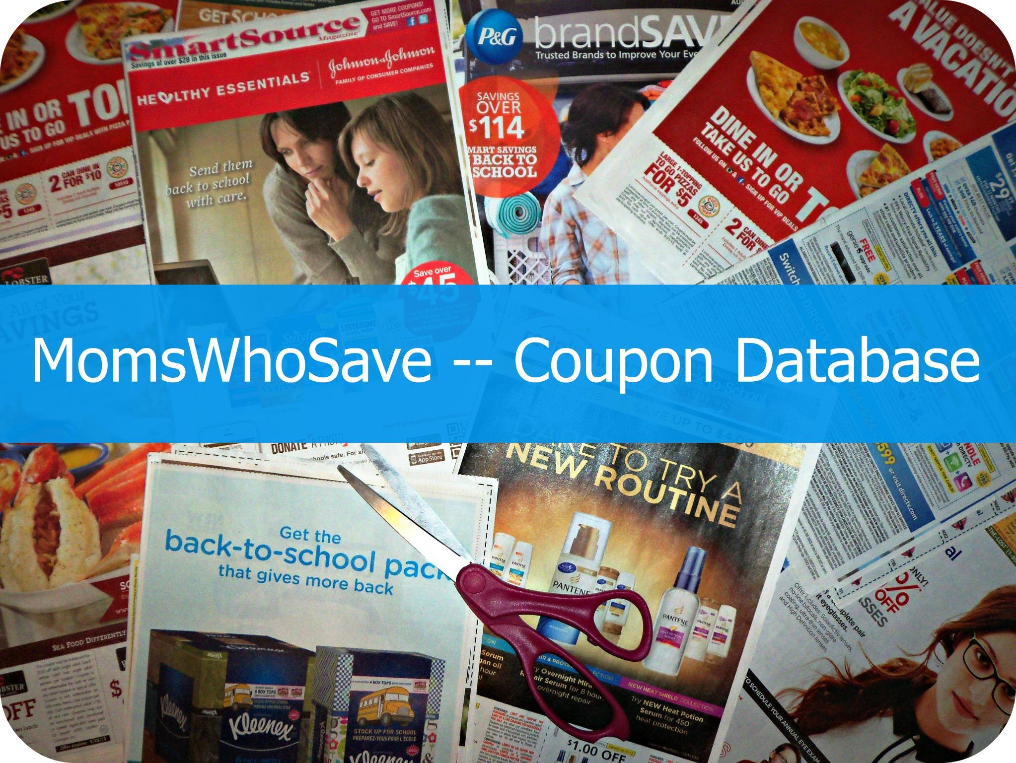 coupon database   MomsWhoSave.com