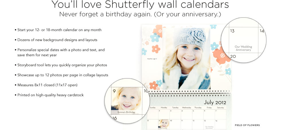 FREE Custom Photo Calendar From Shutterfly + 50% Off Custom Hardcover Photo Books, & 40% Off Everything Else