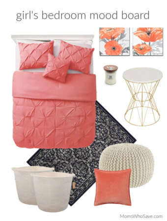 coral bedroom mood board