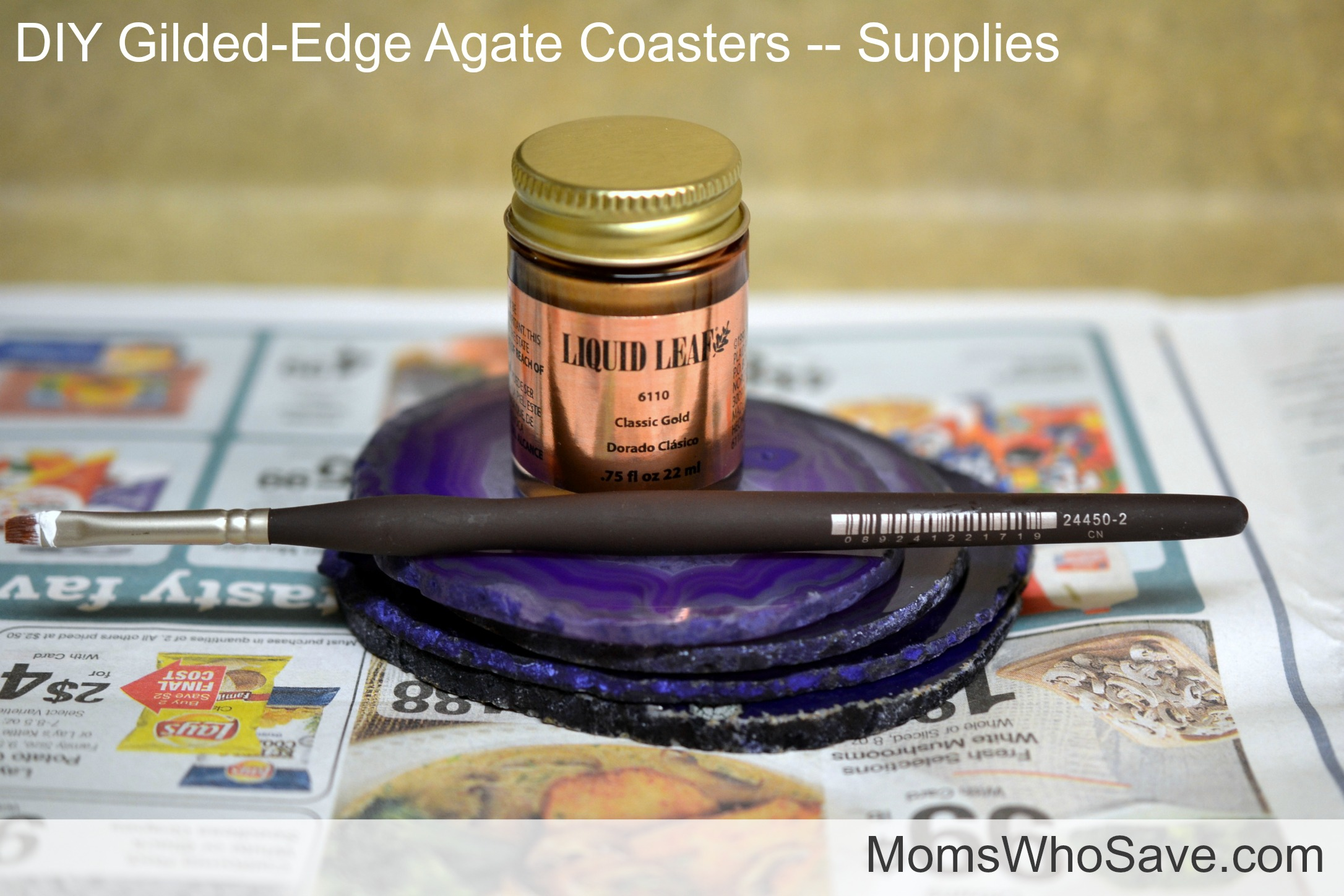 gilded-edge agate coasters supplies