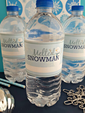 Printable Melted Snowman Bottle Labels