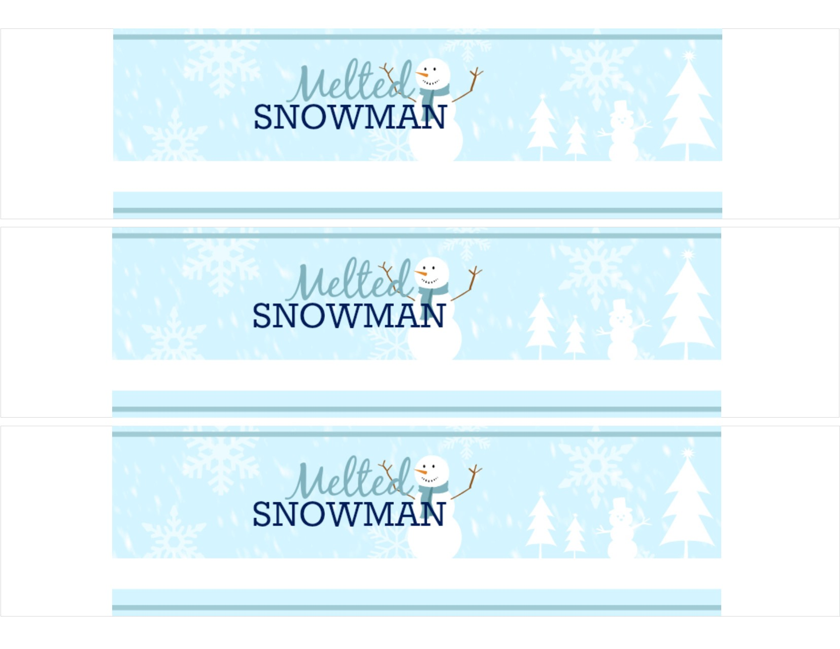 Easy DIY — Free Printable Melted Snowman Water Bottle Labels ...