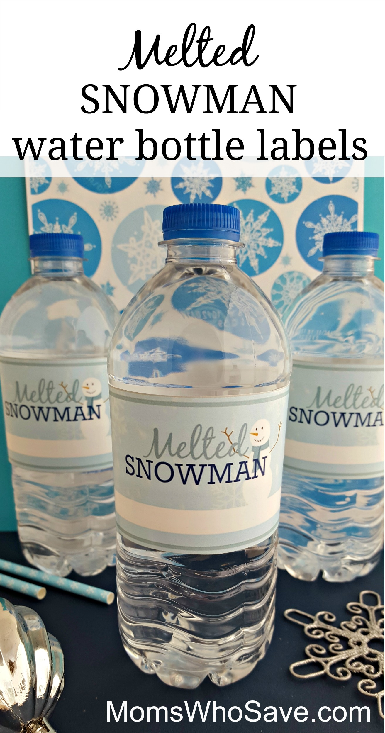 photograph about Free Printable Water Bottle Labels identified as Very simple Do-it-yourself -- No cost Printable Melted Snowman H2o Bottle