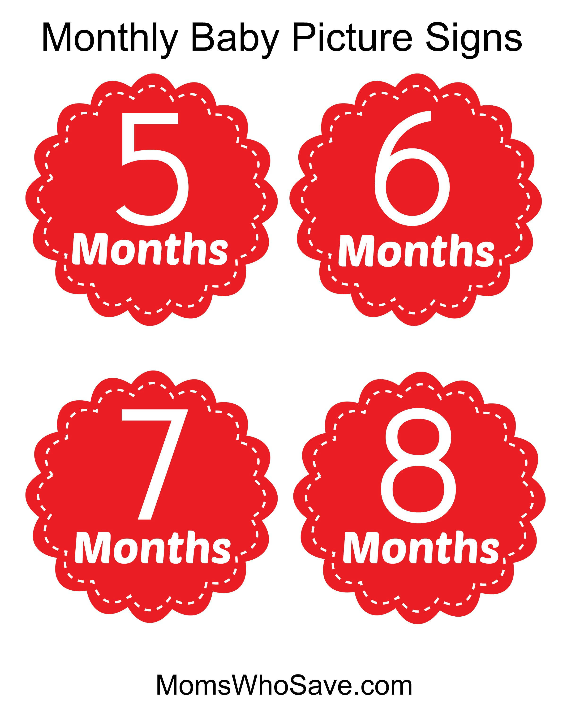 graphic about Free Printable Signs known as No cost Printable Indicators for Every month Boy or girl Photos