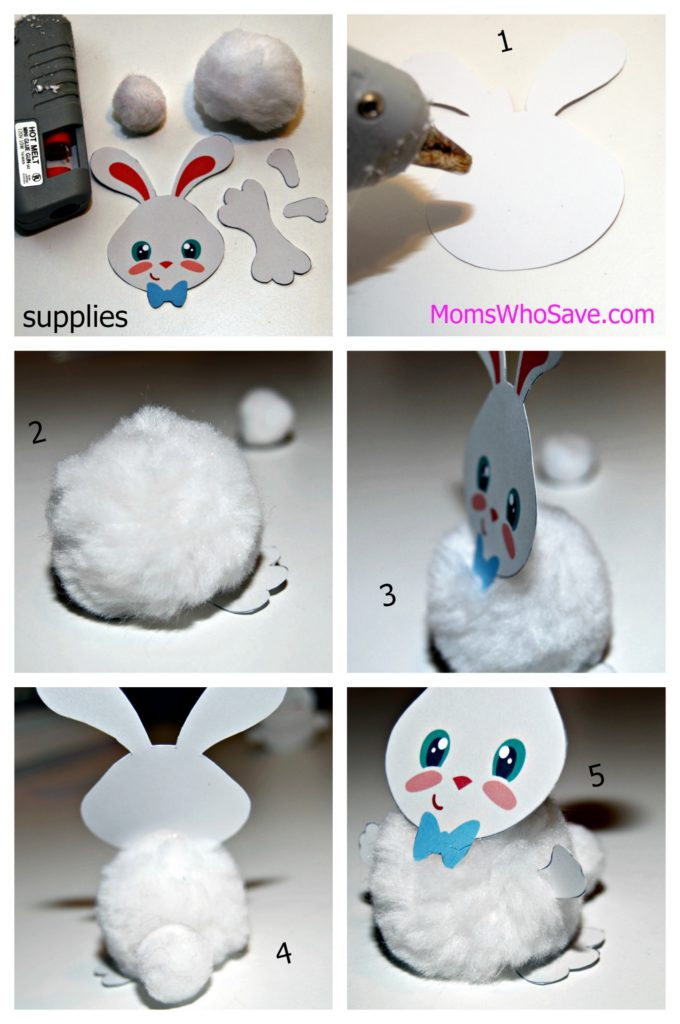 easter bunny pom pom craft process