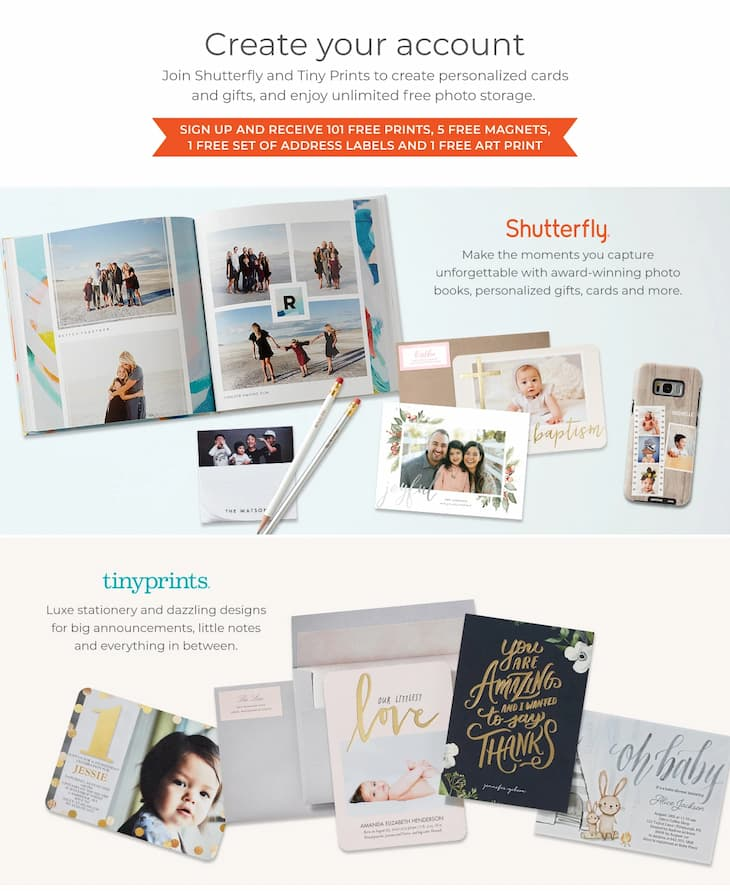 New Shutterfly Customers Get 101 Free Photo Prints, a Free Photo Magnet, & Free Address Labels