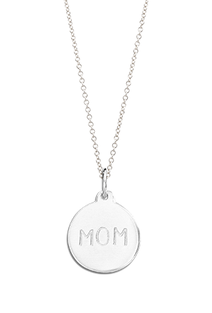 Helen Ficalora Sterling Silver Mom Disk Charm Necklace
