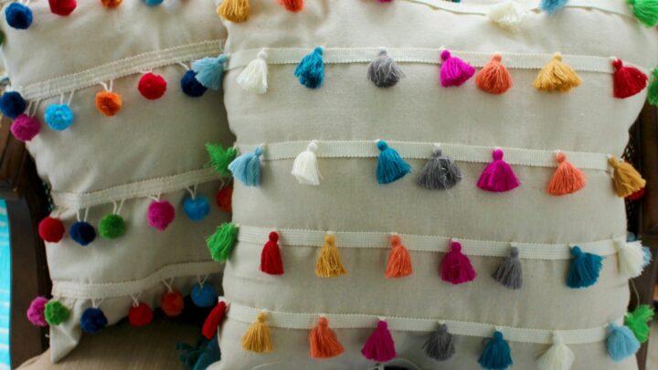 pom pom and tassel throw pillows diy