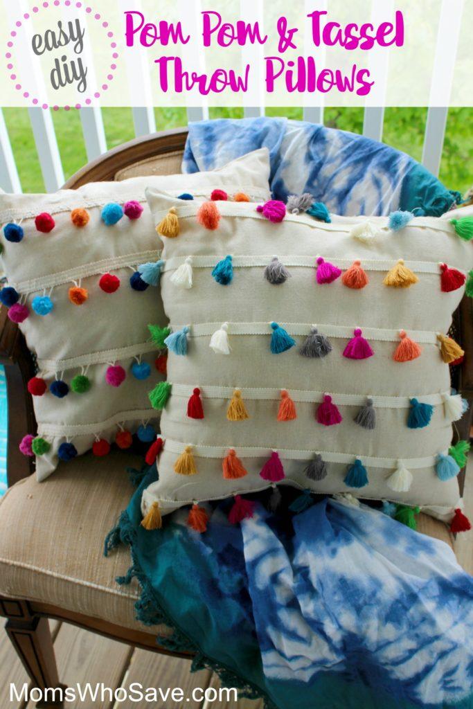 pom pom and tassel throw pillows