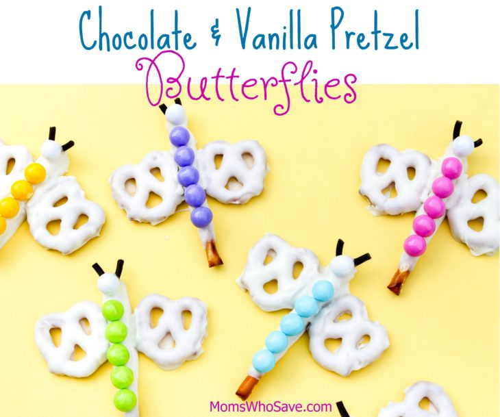 chocolate and vanilla pretzel butterflies
