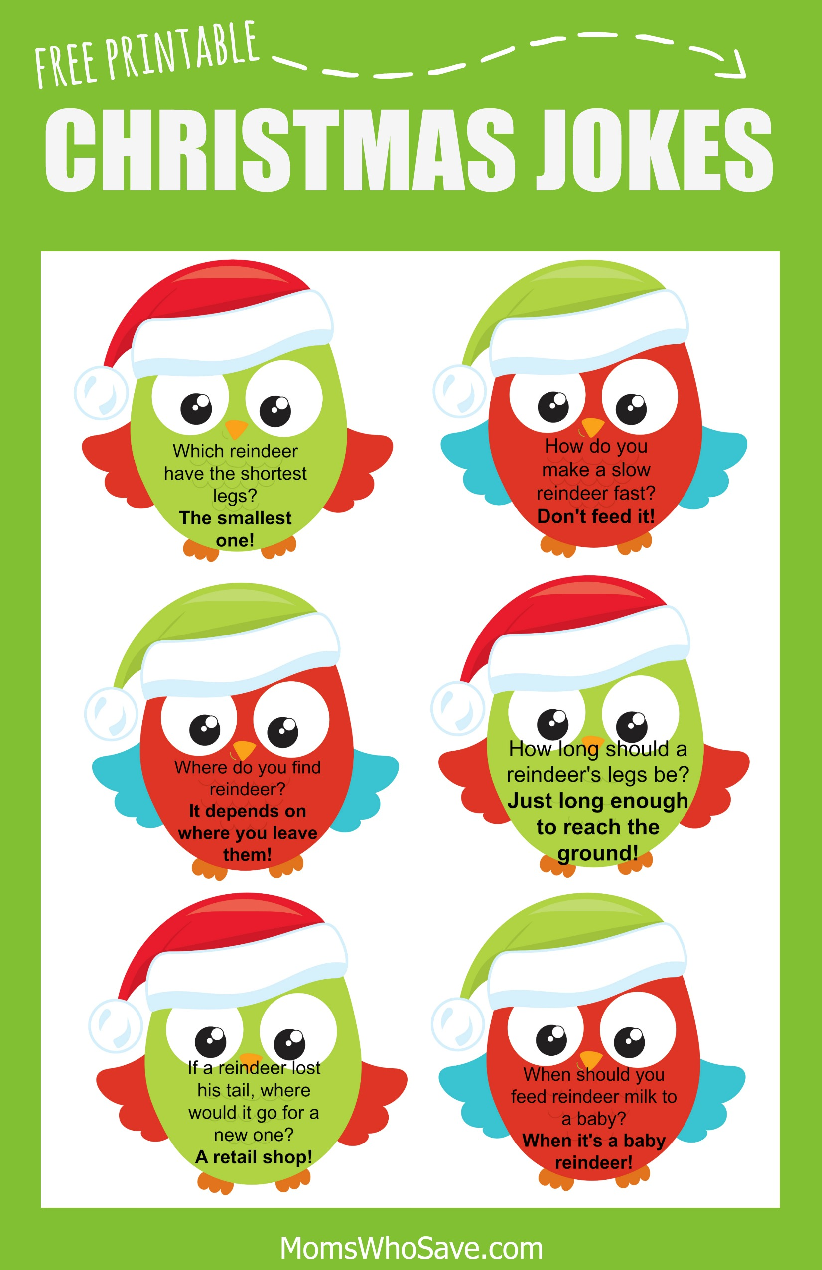 Free Christmas Lunch Box Jokes Printable | MomsWhoSave.com
