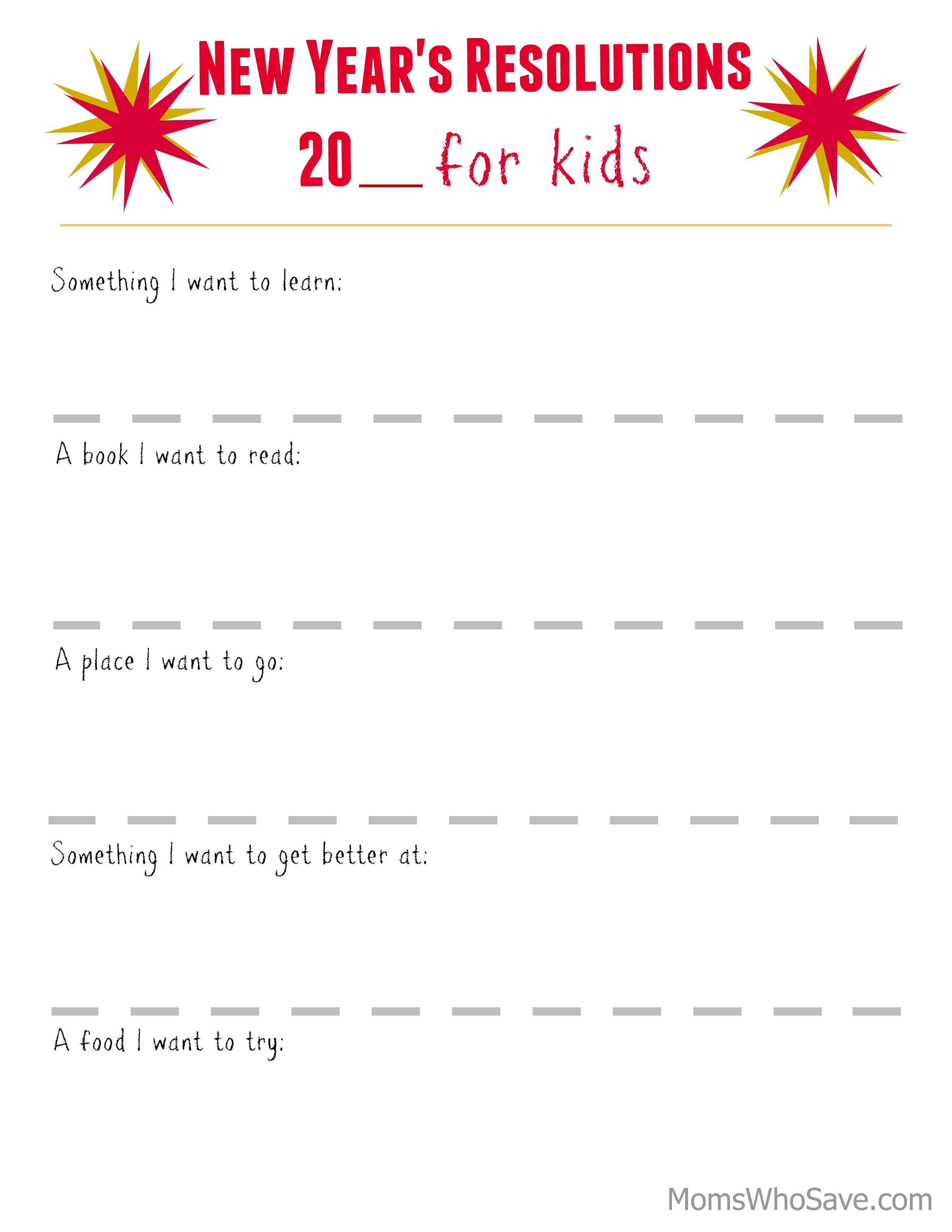 new-years-resolutions for kids