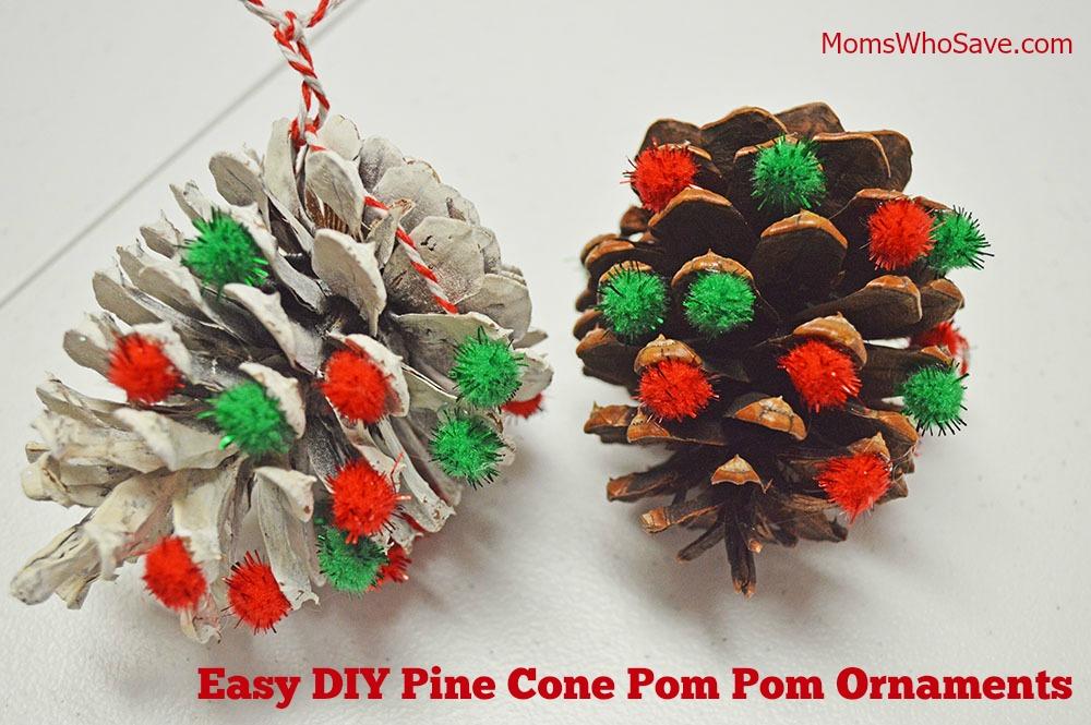 pine cone pom pom ornaments craft