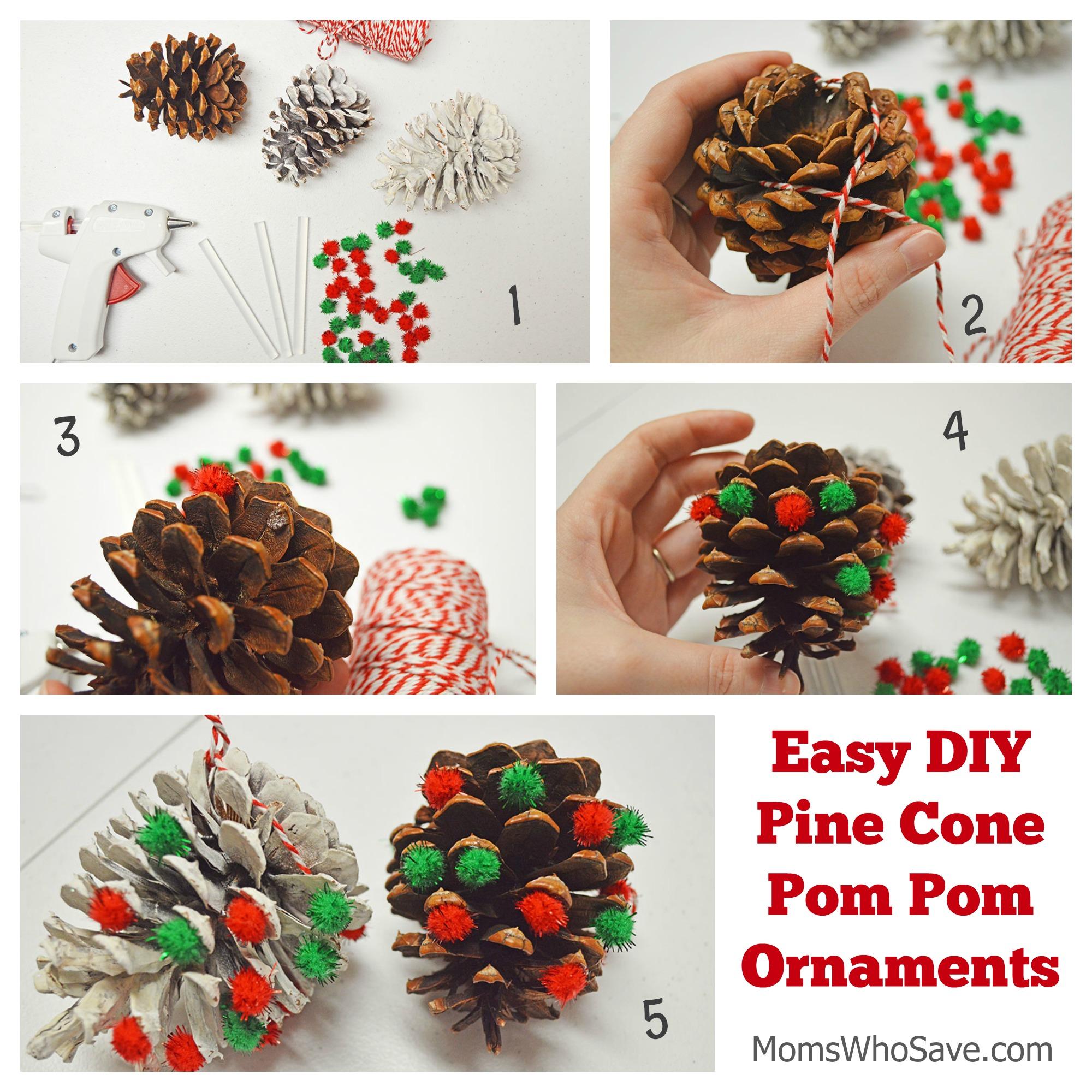 Easy DIY Pine Cone Pom Pom Ornaments