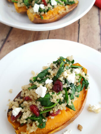 Quinoa Spinach Stuffed Sweet Potatoes Recipe