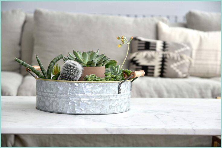 Rustic Farmhouse Galvanized Metal Tray with Gold Rim and Wood Handles