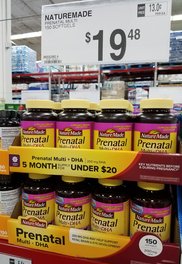 prenatal vitamins at Sam's Club