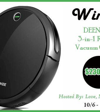 Enter to Win a DEENKEE 3-in-1 Robot Vacuum