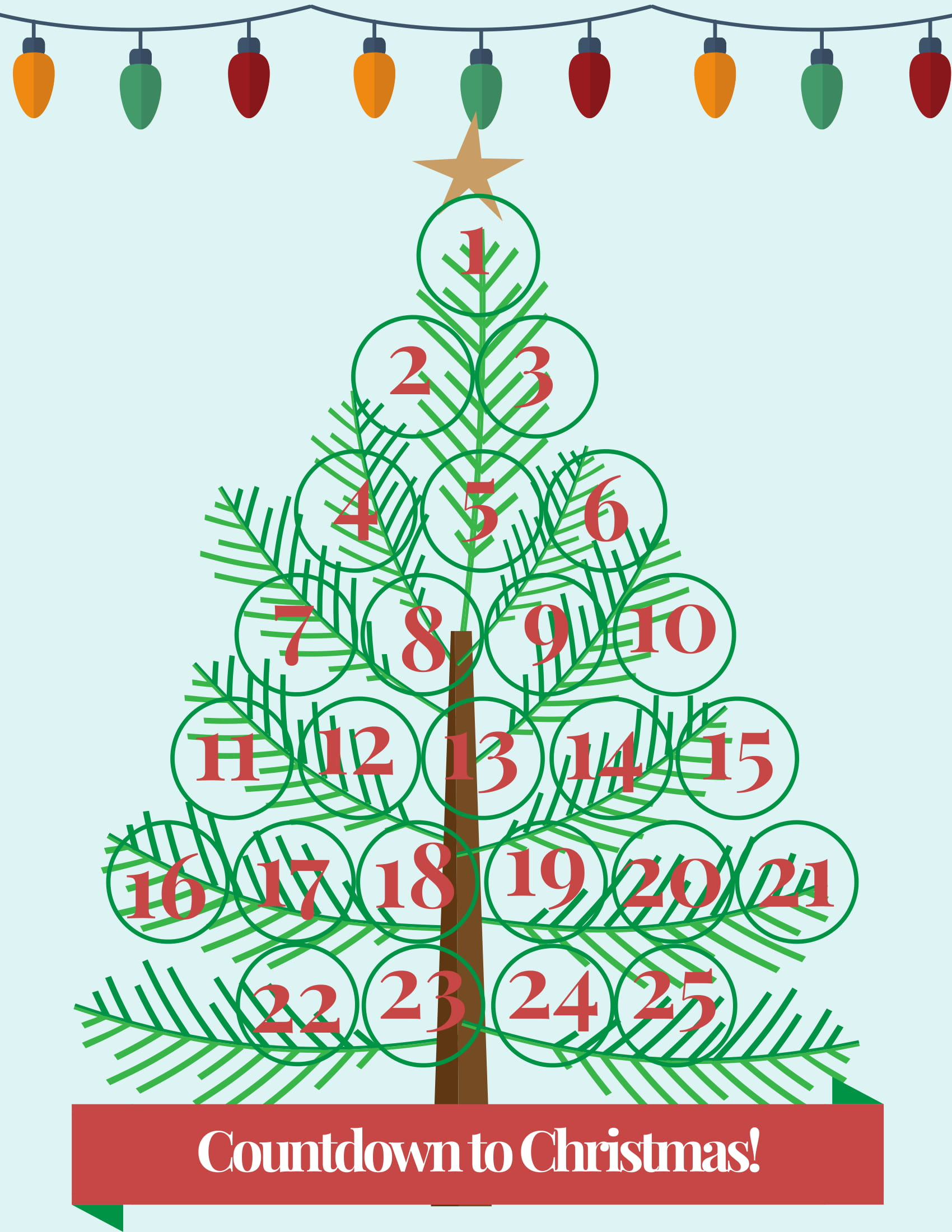 graphic regarding Printable Christmas Calendar called Countdown towards Xmas Absolutely free Printable -- Xmas Tree