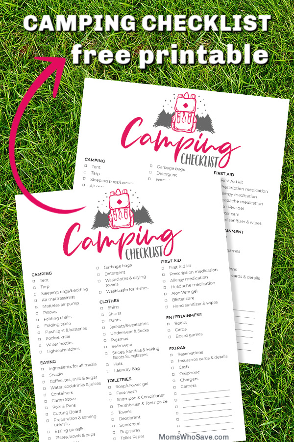camping for beginners printable checklist