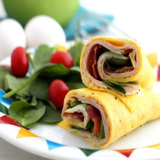Low Carb Turkey Club Egg Wrap With Spinach and Avocado