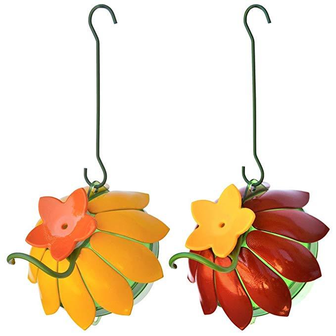 Wild Wings So Real Single Flower Hummingbird Feeder, Red/Yellow (2-Pack),