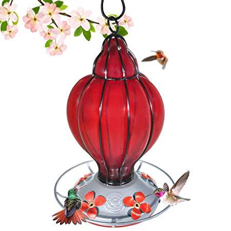 Grateful Gnome - Hummingbird Feeder - Hand Blown Glass - Red Lantern - 28 Fluid Ounces