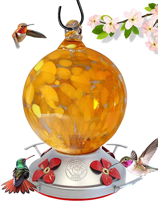 Hand Blown Glass Hummingbird Feeder, Orange Globe with Yellow Flowers - 24 Fluid Ounces