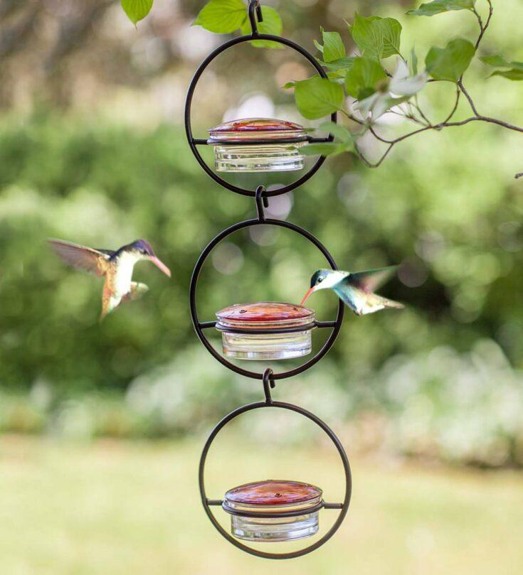 Linkable Metal and Glass Hummingbird Feeder