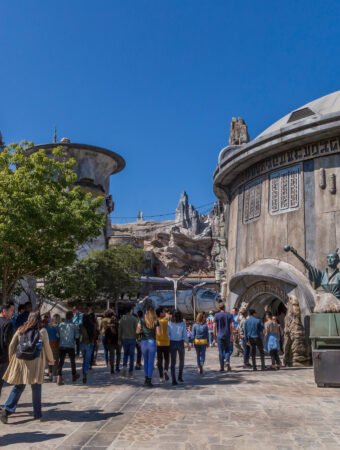 Star Wars: Galaxy's Edge at Disneyland Park in Anaheim, California, and at Disney's Hollywood Studios in Lake Buena Vista, Florida, is Disney's largest single-themed land expansion ever at 14-acres each, transporting guests to Black Spire Outpost, a village on the planet of Batuu. Guests will discover two signature attractions. Millennium Falcon: Smugglers Run, available opening day, and Star Wars: Rise of the Resistance, opening later this year. (Joshua Sudock/Disney Parks)
