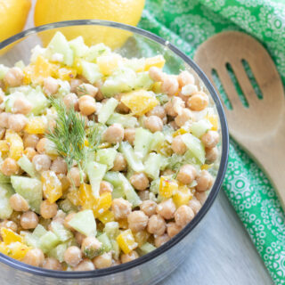 Cucumber Chickpea Salad with Lemon Dill Dressing