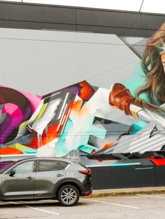 Wonder Woman mural in Greensboro
