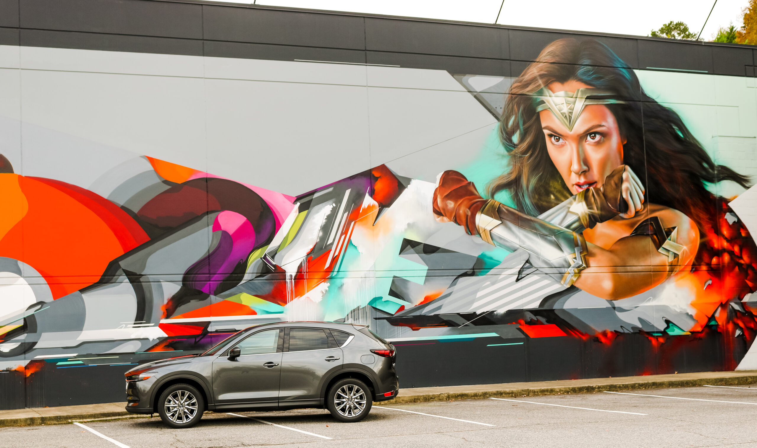Wonder Woman mural in Greensboro