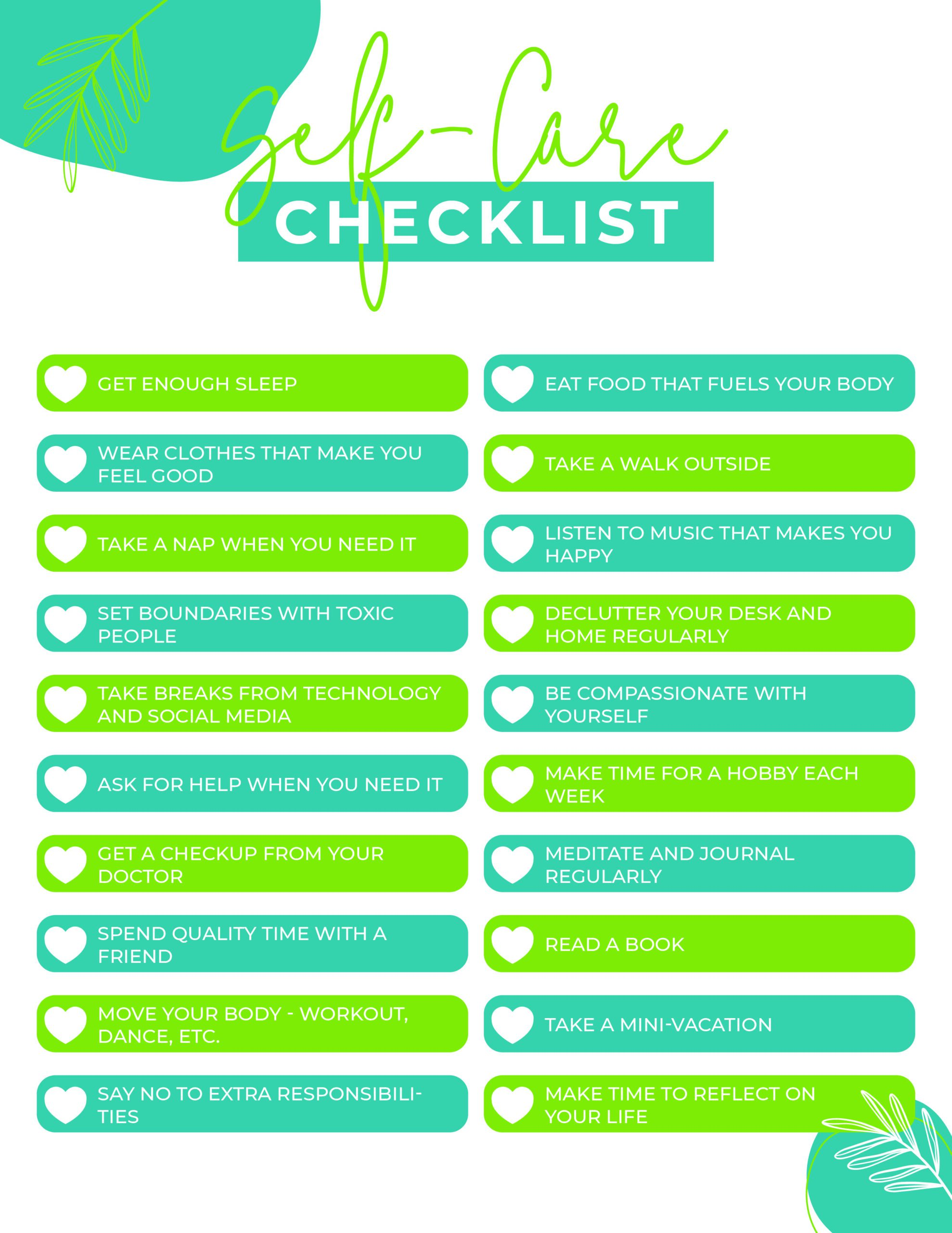 printable self-care checklist