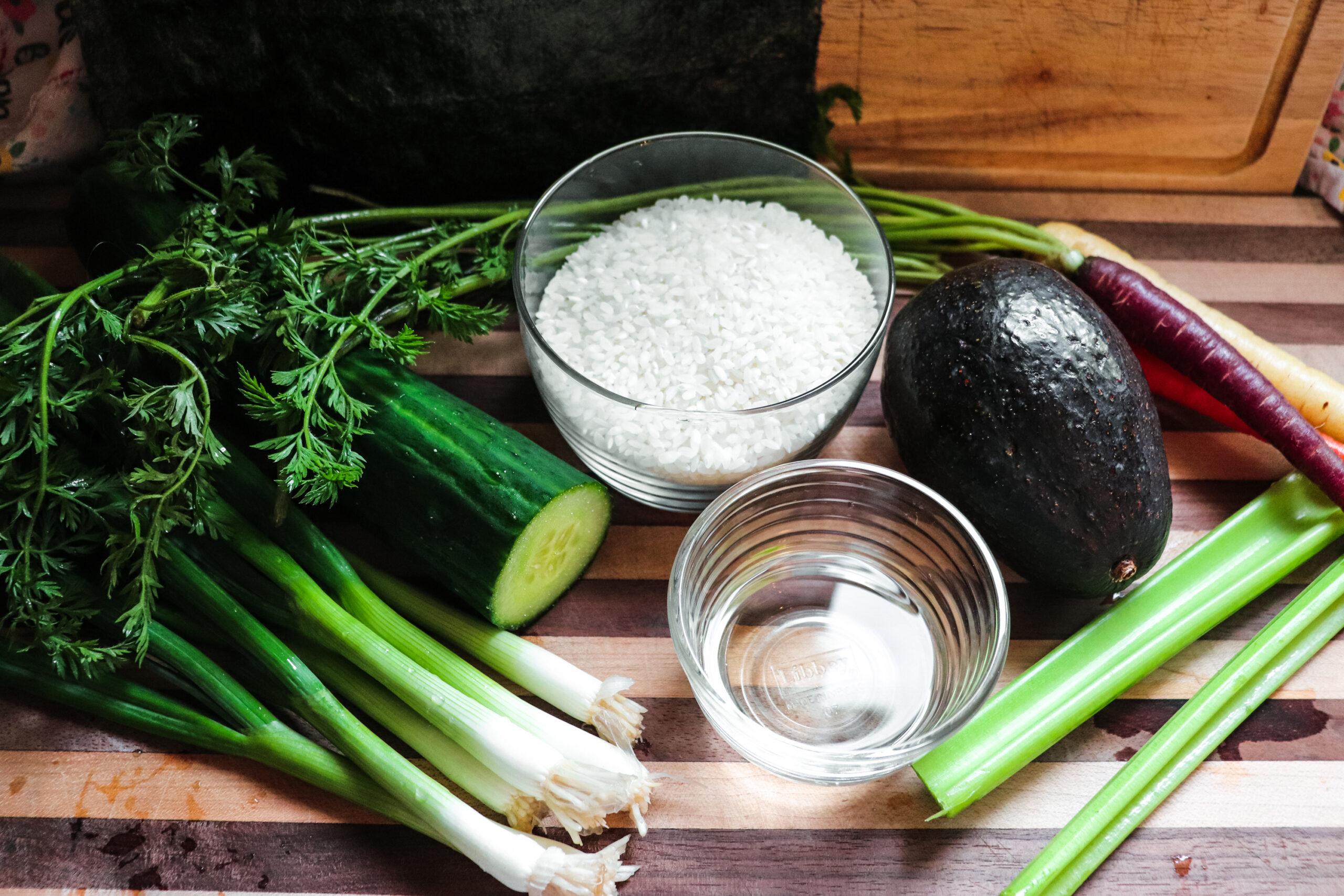ingredients for vegan sushi