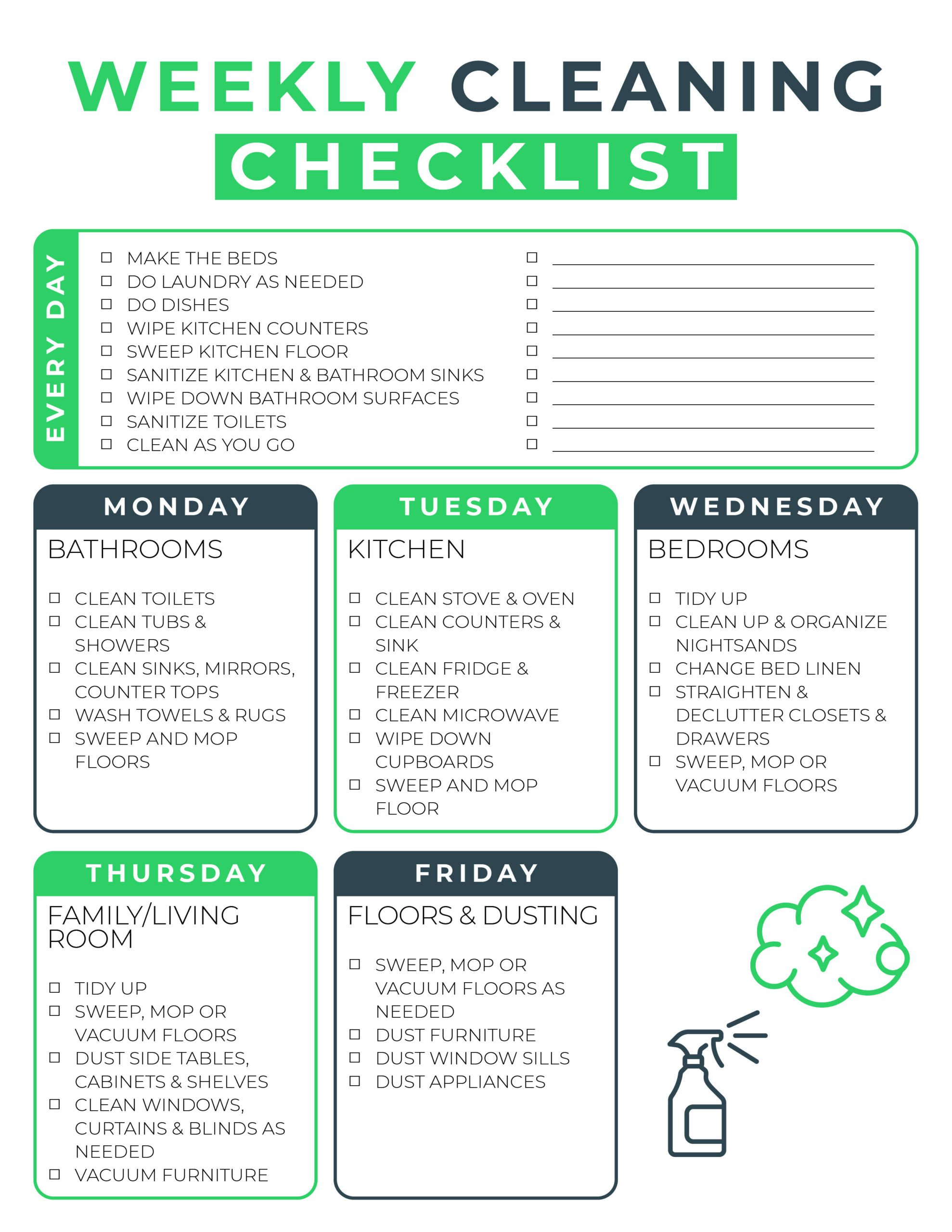 Basic Housecleaning Checklist