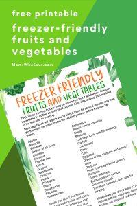 freezer friendly fruits and veggies