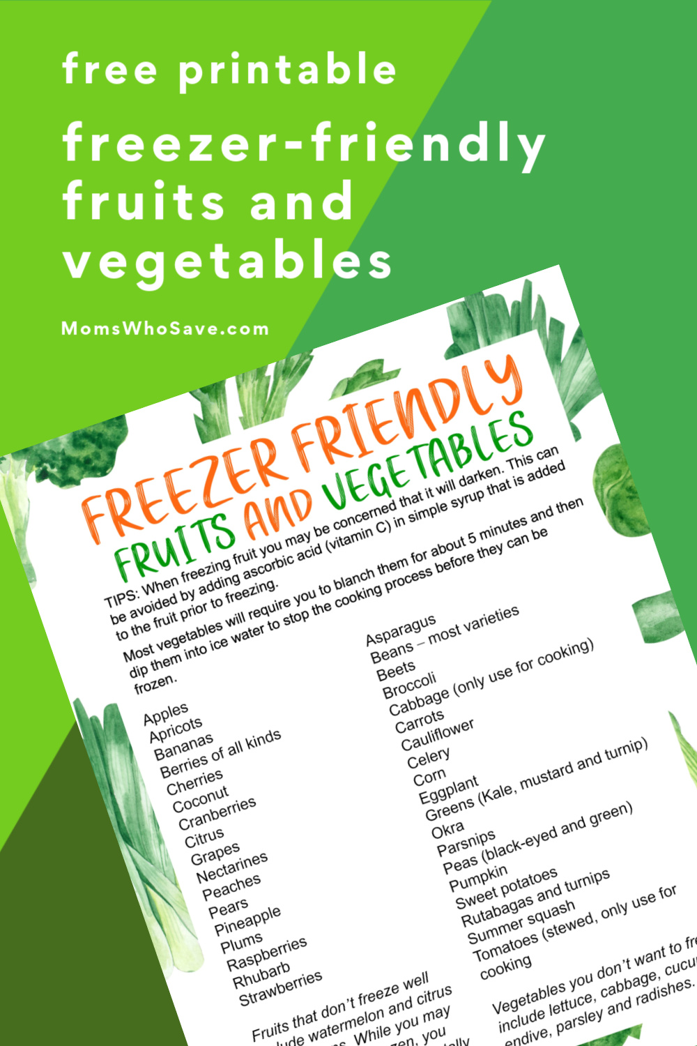 freezer friendly fruits and veggies
