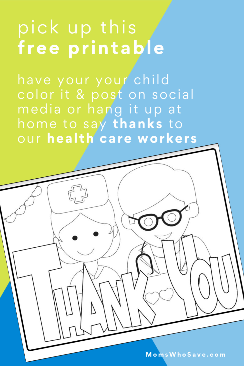 Free Kids Coloring Page Thank You Health Care Workers Momswhosave Com