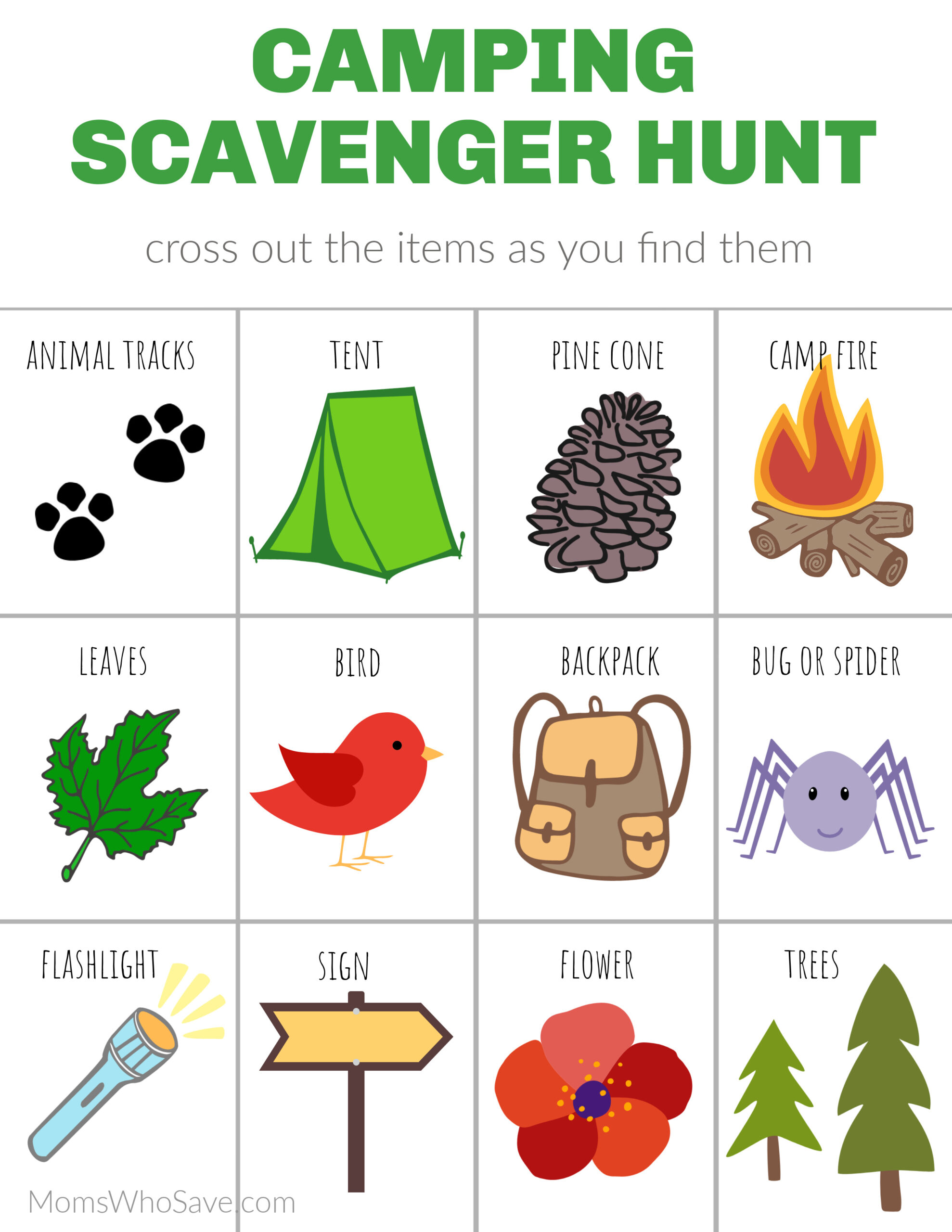 camping scavenger hunt
