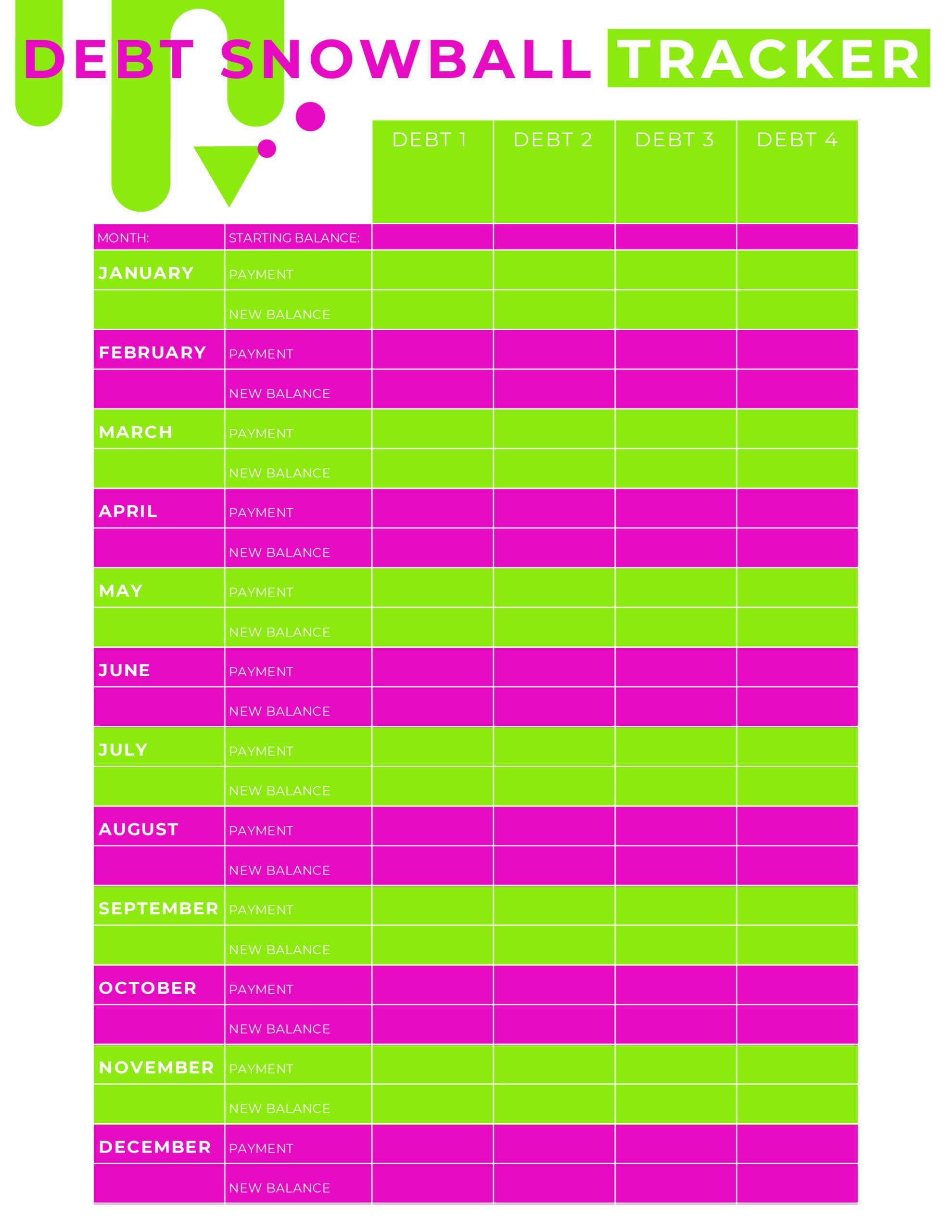 Debt payoff planner printable