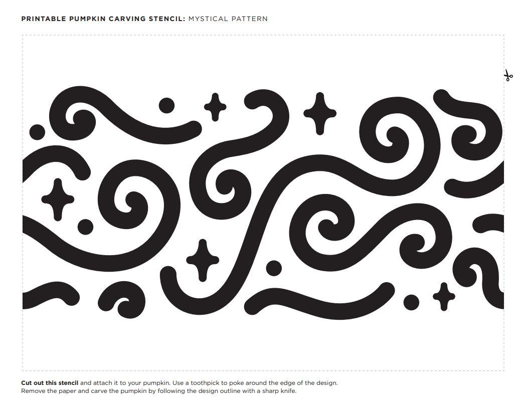 mystical design pumpkin carving stencil