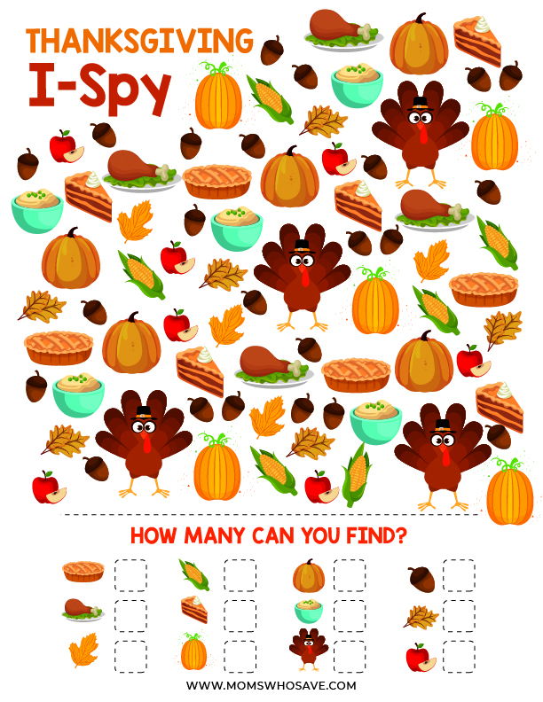Thanksgiving I-Spy Printable