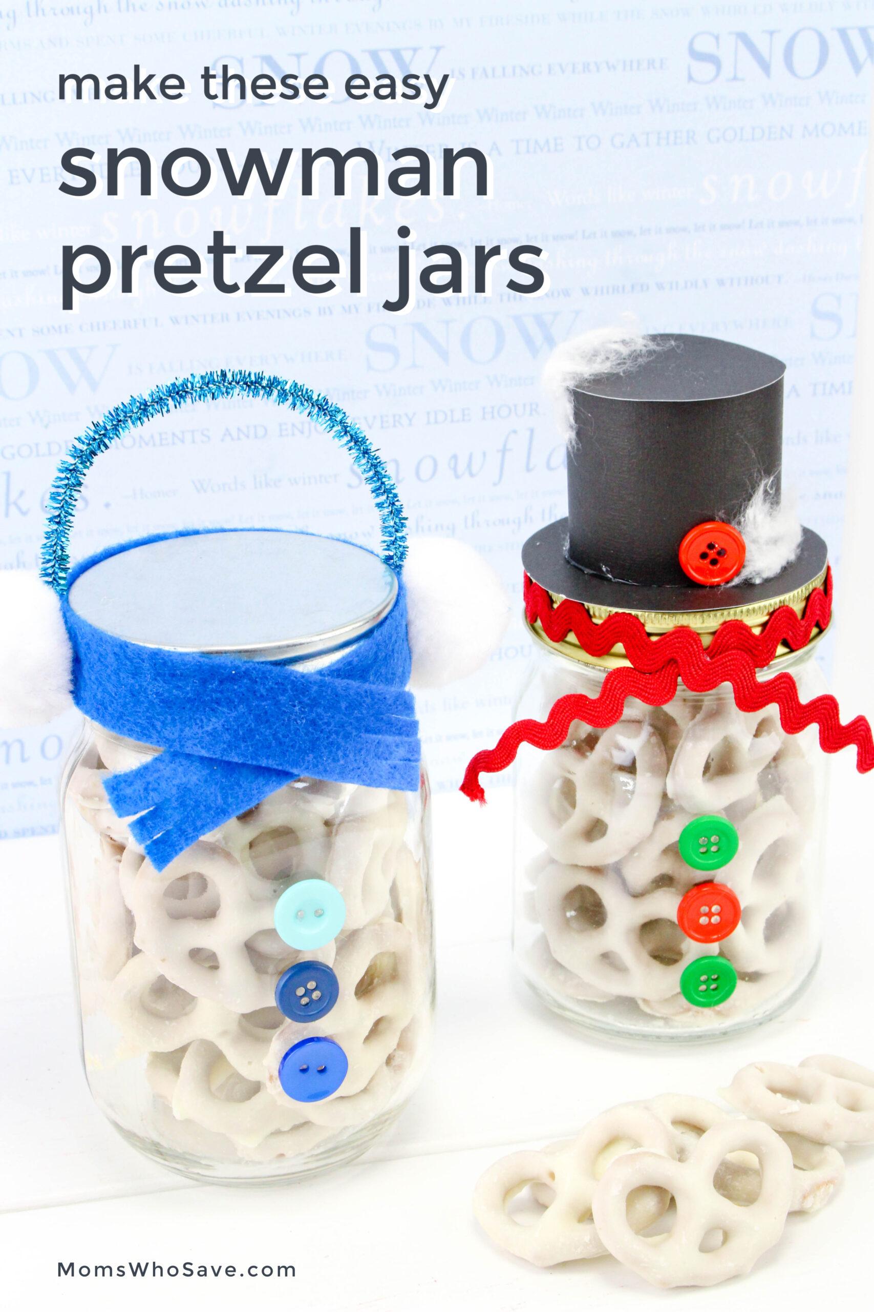 snowman pretzel jars