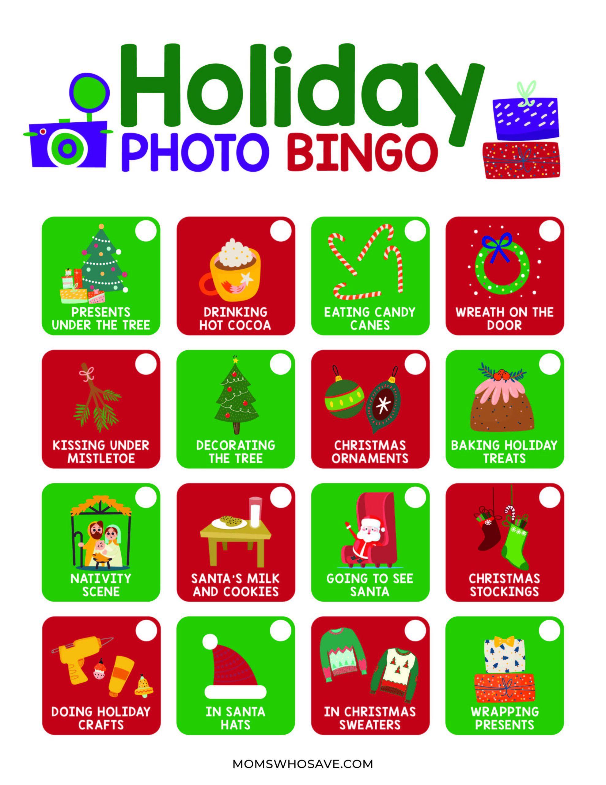 free holiday photo bingo