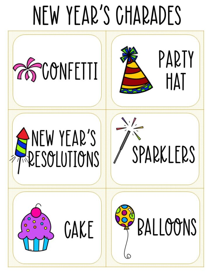Printable charades cards for kids