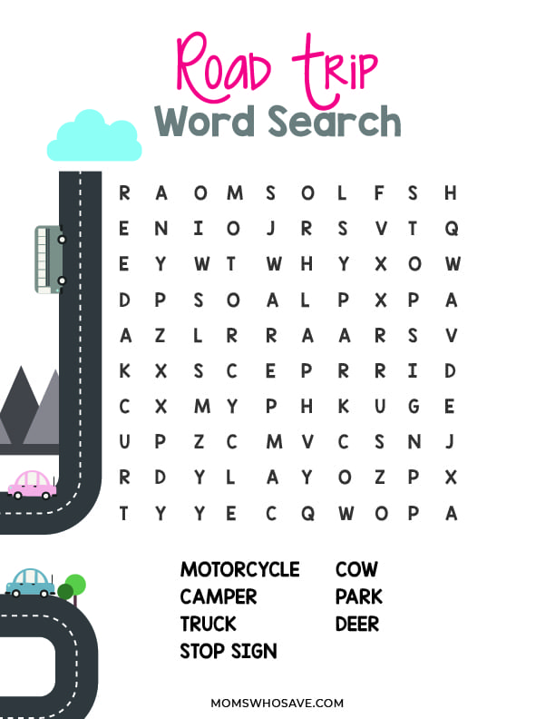 road trip word search