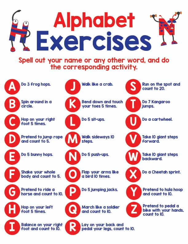 exercise for each letter of the alphabet