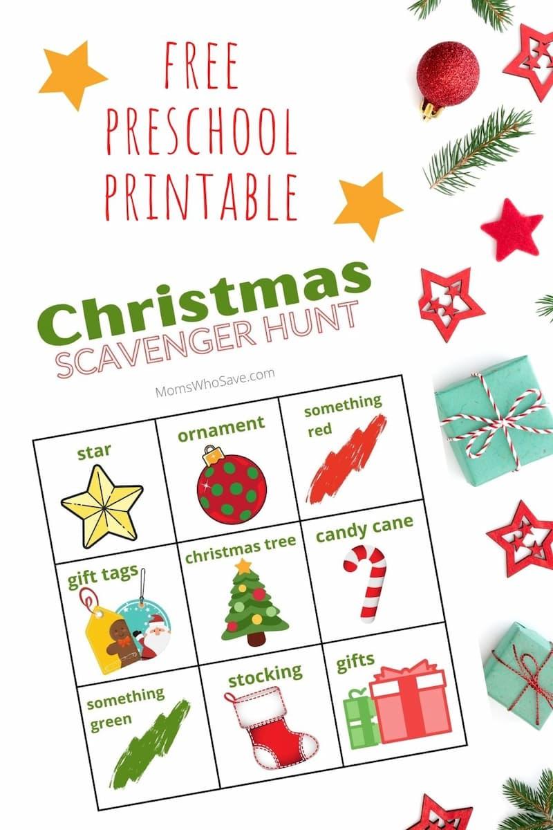 Preschool Christmas Scavenger Hunt Printable